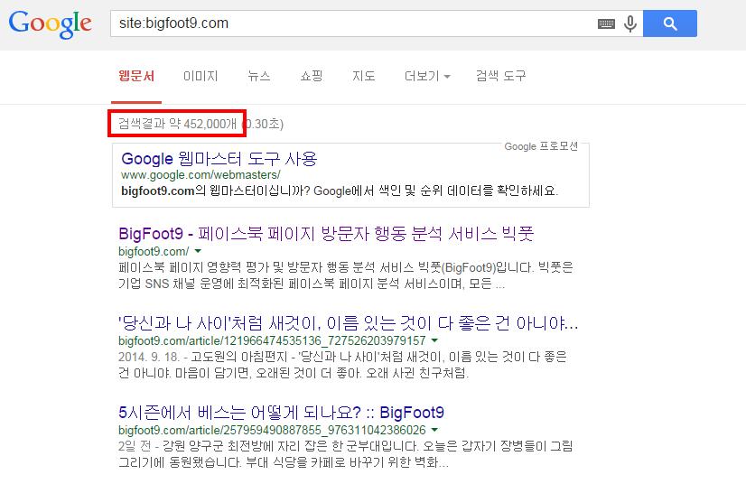 검색창에 site:mydomain 을 입력하면 검색에 노출된 웹문서 수를 알 수 있다