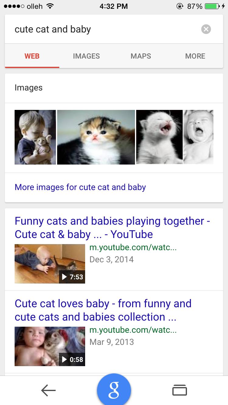 Google.com에서 'cute cat and baby'로 검색했을 때 동영상이 먼저 노출 된다.