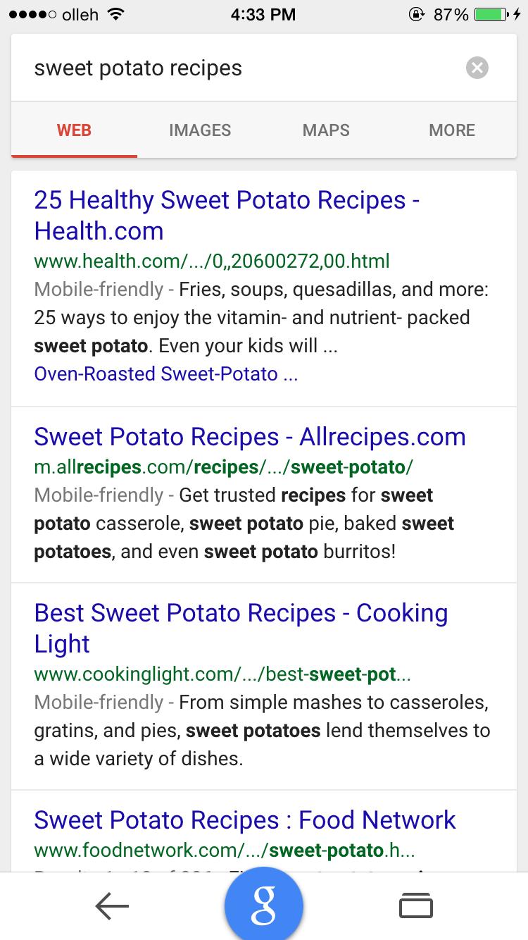 google.com에서 'sweet potato recipes' 로 검색하면 웹 문서가 먼저 노출 되고 있다.