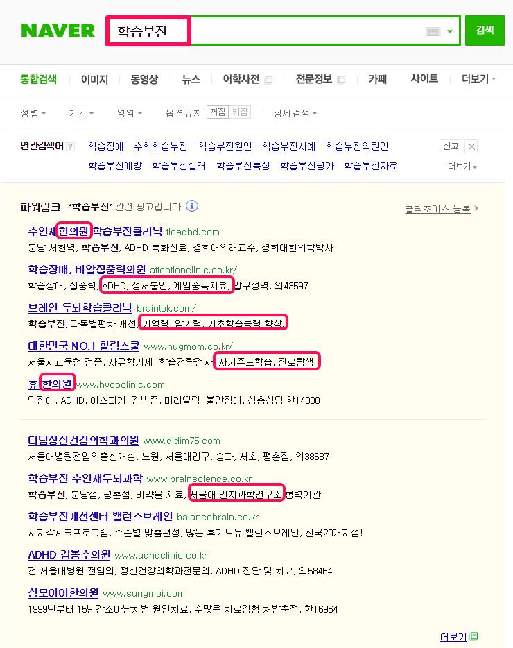 '학습부진' 검색결과에 나온 키워드 광고 중인 업체 현황
